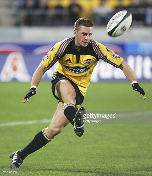 Jimmy Gopperth of the Hurricanes in action during the Super 12 match between the Hurricanes and the ACT Brumbies at WestPac Stadium April 30 2005 in...