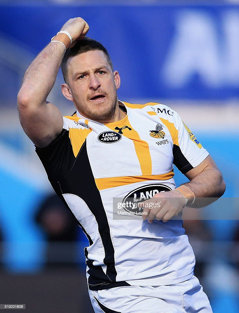 <a gi-track='captionPersonalityLinkClicked' href=/galleries/search?phrase=Jimmy+Gopperth&family=editorial&specificpeople=561375 ng-click='$event.stopPropagation()'>Jimmy Gopperth</a> of Wasps celebrates his try during the Aviva Premiership match between Saracens and Wasps at Allianz Park on February 14, in Barnet, England.