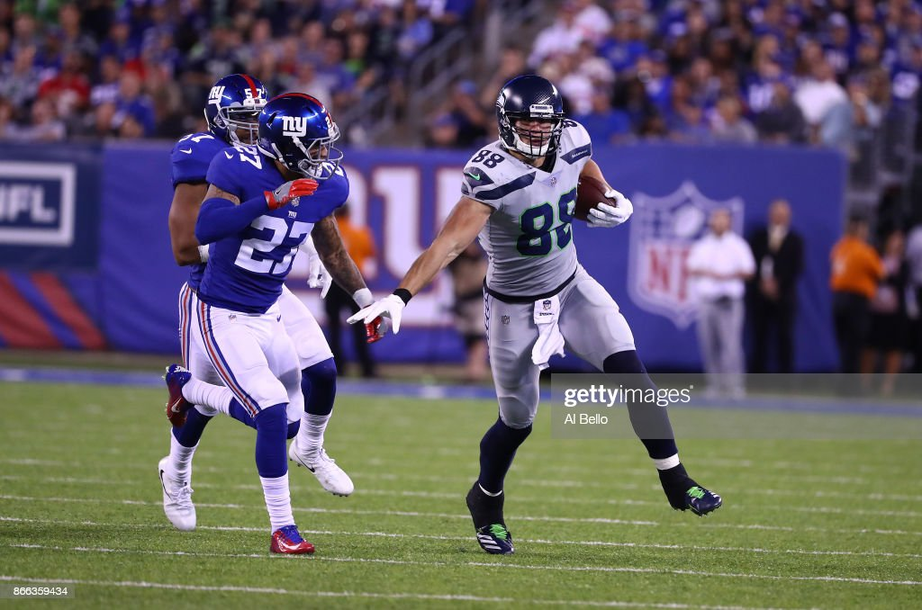 Jimmy Graham #88 of the Seattle Seahawks in action against Darian Thompson #27 of the New York Giants during their game at MetLife Stadium on October 22, 2017 in East Rutherford, New Jersey.