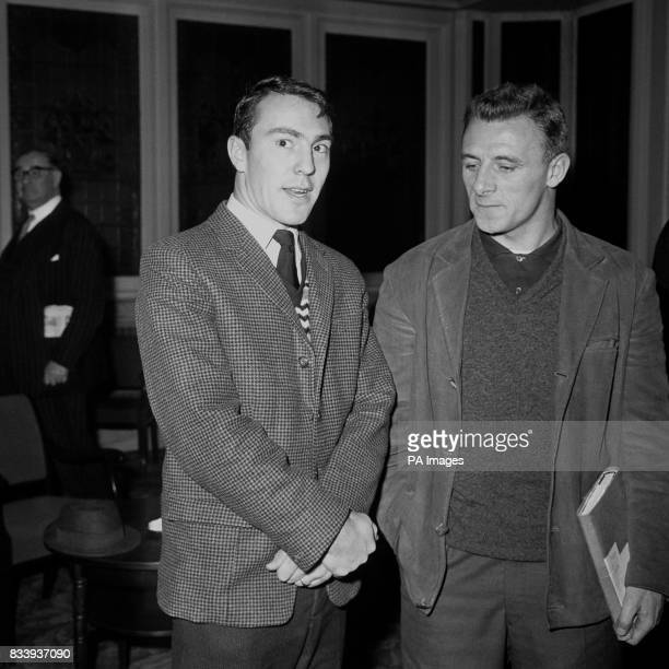 Jimmy Greaves of Chelsea talks with Tommy Doherty of Arsenal at the Abercorn Rooms Bishopsgate London when they both attended a meeting of the...