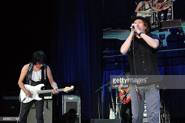 Jimmy Hall and gbJeff Beck performing at 'Fiddlers Green' in Englewood Colorado on August 20 2014