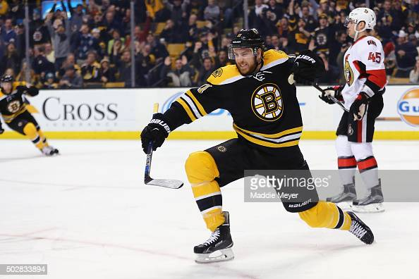 Jimmy Hayes of the Boston Bruins celebrates after scoring a goal against the Ottawa Senators during the first period at TD Garden on December 29 2015...