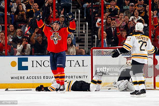 Jimmy Hayes of the Florida Panthers celebrates his goal against the Boston Bruins at the BBT Center on March 9 2014 in Sunrise Florida