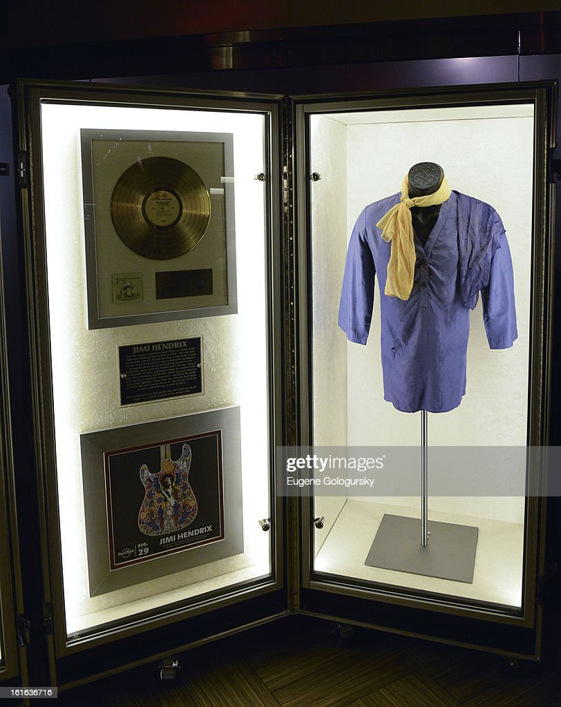 Jimmy Hendrix memorabilia at the 'Gone Too Soon' and 'Music Gives Back' Media Preview Day at the Hard Rock Cafe, Times Square on February 13, 2013 in New York City.