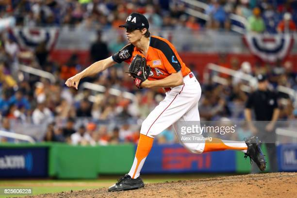 Jimmy Herget of Team USA pitches during the SirusXM AllStar Futures Game at Marlins Park on Sunday July 9 2017 in Miami Florida