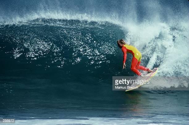 Jimmy Hogan sets up down a pipeline off the Isle of Natividad Mexico Mandatory Credit Markus Boesch/ALLSPORT