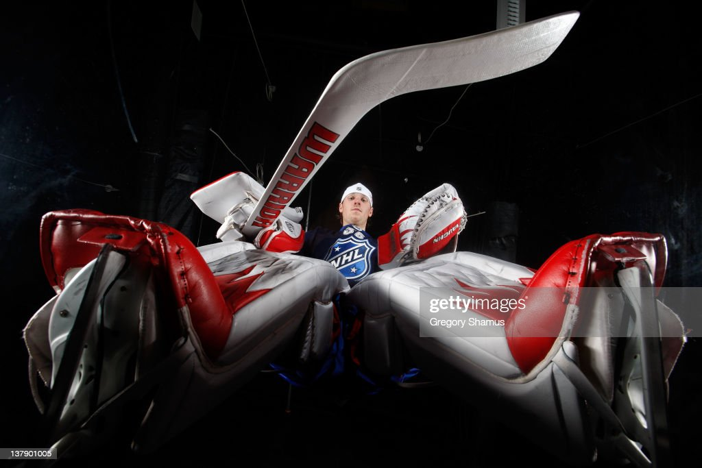 <a gi-track='captionPersonalityLinkClicked' href=/galleries/search?phrase=Jimmy+Howard&family=editorial&specificpeople=2118637 ng-click='$event.stopPropagation()'>Jimmy Howard</a> #35 of the Detroit Red Wings and Team Chara poses prior to the 2012 NHL All-Star Game at Scotiabank Place on January 29, 2012 in Ottawa, Ontario, Canada.