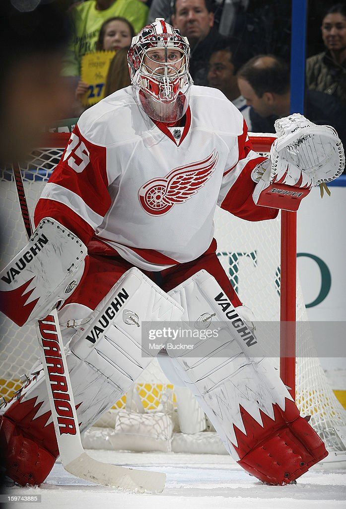 <a gi-track='captionPersonalityLinkClicked' href=/galleries/search?phrase=Jimmy+Howard&family=editorial&specificpeople=2118637 ng-click='$event.stopPropagation()'>Jimmy Howard</a> #35 of the Detroit Red Wings defends against the St. Louis Blues in an NHL game on January 19, 2013 at Scottrade Center in St. Louis, Missouri.