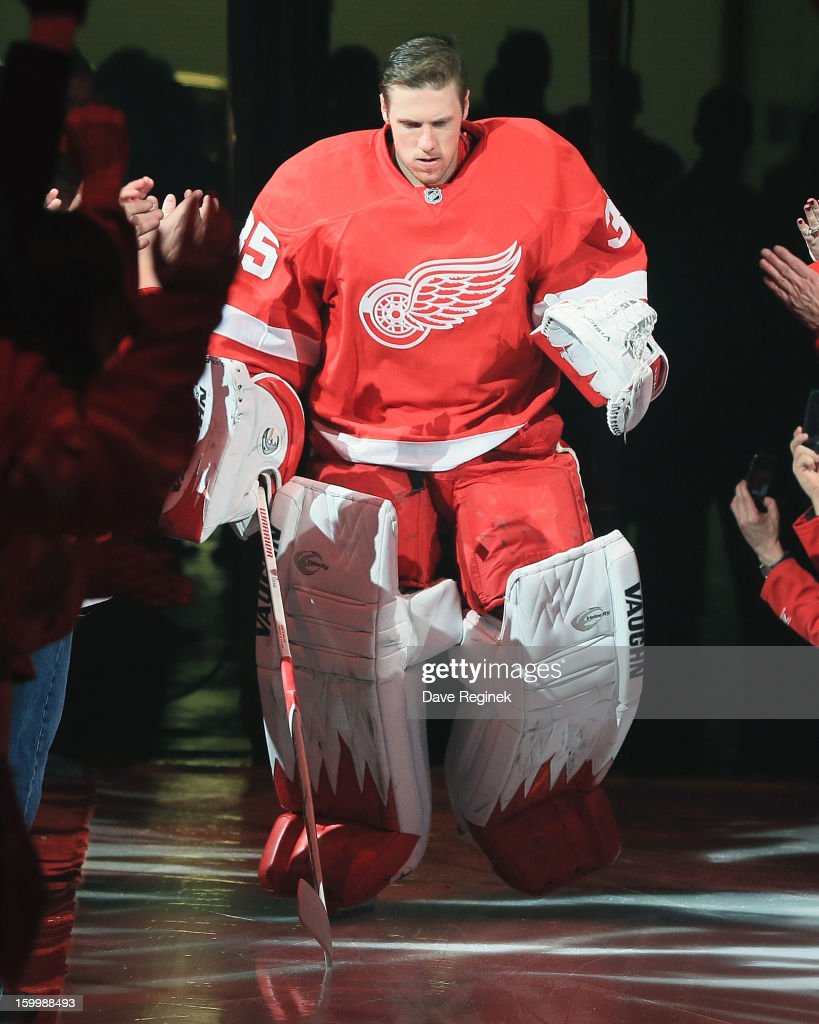 Jimmy Howard #35 of the Detroit Red Wings is introduced in pre-game ceramonies before an NHL game against the Dallas Stars at Joe Louis Arena on January 22, 2013 in Detroit, Michigan. Dallas won 2-1