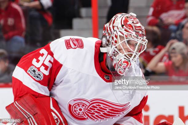 Jimmy Howard of the Detroit Red Wings looks on during a stoppage in play against the Ottawa Senators at Canadian Tire Centre on October 7 2017 in...