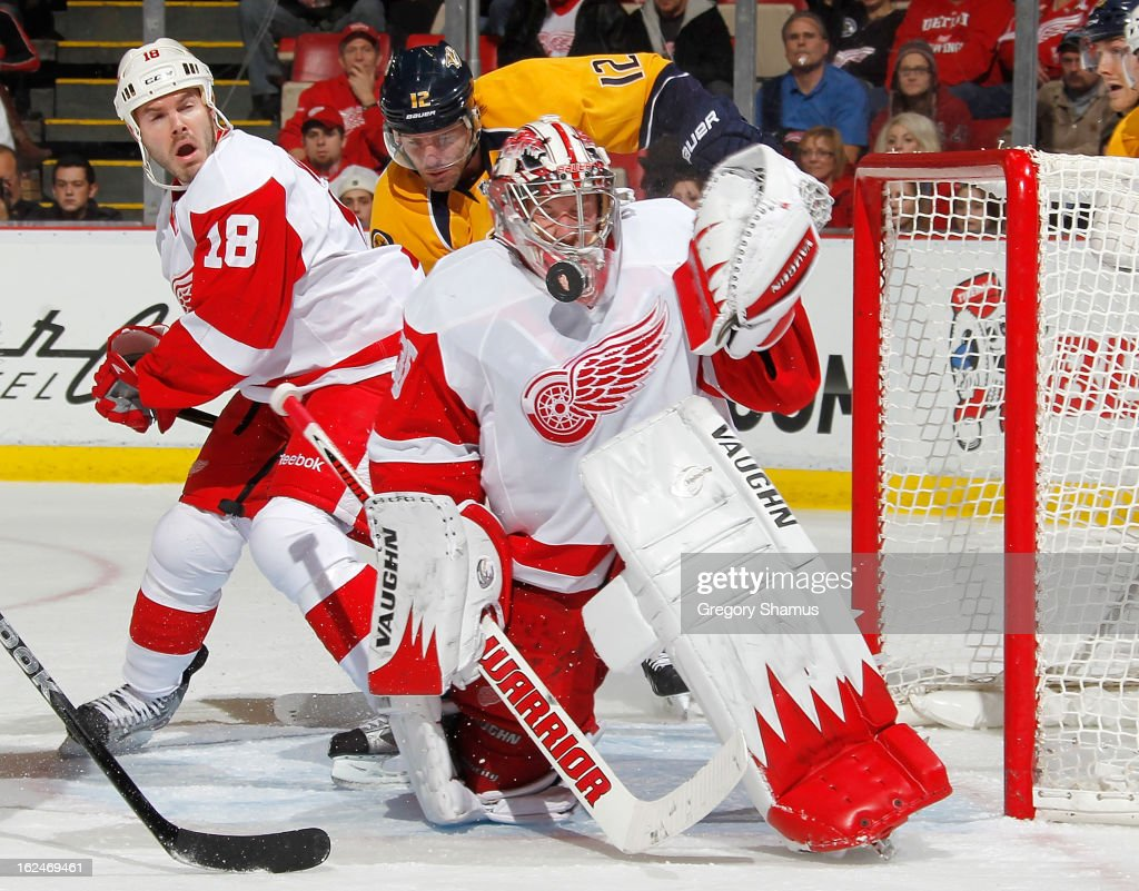Jimmy Howard #35 of the Detroit Red Wings makes a second period save next to teammate Ian White #18 and Mike Fisher #12 of the Nashville Predators at Joe Louis Arena on February 23, 2013 in Detroit, Michigan.