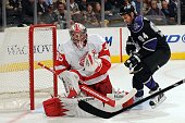 Jimmy Howard of the Detroit Red Wings makes the save against Ryan Smyth of the Los Angeles Kings on January 7 2010 at Staples Center in Los Angeles...