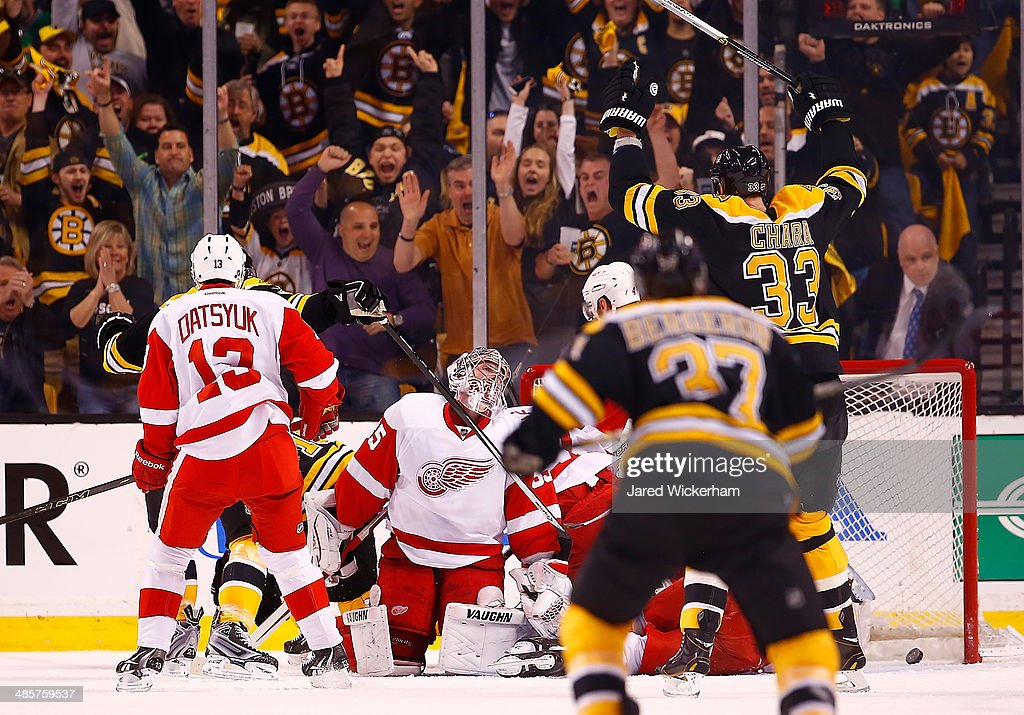 Jimmy Howard of the Detroit Red Wings reacts after being scored on in the first period by Reilly Smith of the Boston Bruins during the game at TD...
