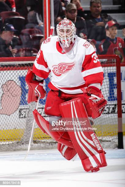 Jimmy Howard of the Detroit Red Wings skates during warmups prior to a game against the Ottawa Senators at Canadian Tire Centre on October 7 2017 in...