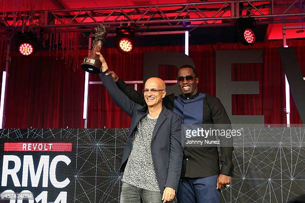 Jimmy Iovine and Sean 'Diddy' Combs attend the Revolt Music Conference at Fontainebleau Miami Beach on October 18 in Miami Beach Florida