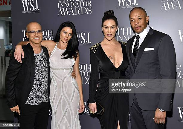 Jimmy Iovine Liberty Ross Nicole Young and Dr Dre attend WSJ Magazine 2014 Innovator Awards at Museum of Modern Art on November 5 2014 in New York...
