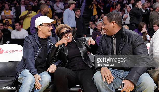 Jimmy Iovine Mary J Blige and Martin Kendu Isaacs attend a game between the Houston Rockets and the Los Angeles Lakers at Staples Center on January 5...