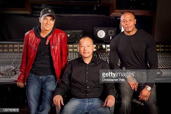 Jimmy Iovine Peter Chou and Dr Dre announce the strategic partnership of HTC and Beats by Dr Dre on August 10 2011 in Los Angeles California