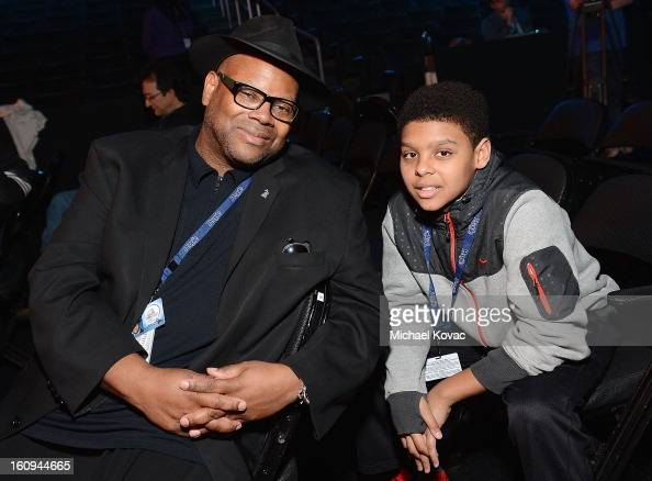 Jimmy Jam and his son Max attend rehearsals for The 55th Annual GRAMMY Awards at Staples Center on February 7 2013 in Los Angeles California