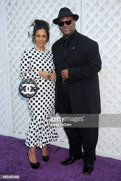 Jimmy Jam and wife Lisa Harris arrive at HollyRod Foundation's 17th Annual DesignCare Gala at The Lot Studios on August 8 2015 in Los Angeles...