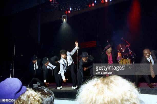 Jimmy Jam Terry Lewis Morris Day Jellybean Johnson Jesse Johnson and Jerome Benton of the band The Time perform at First Avenue nightclub in...