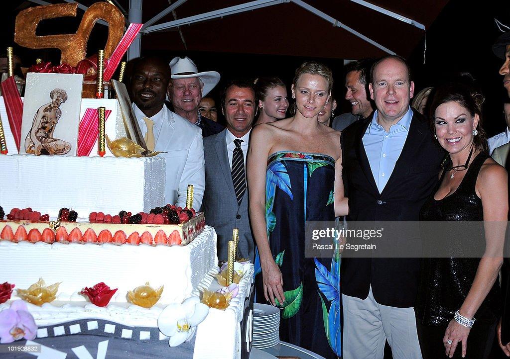 Jimmy JeanLouis Actor Larry Hagman Bernard Montiel Charlene Wittstock Prince Albert II of Monaco and Paula Trickey attend the 50th Anniversary...