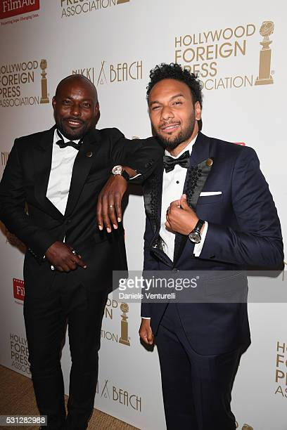 Jimmy JeanLouis and Yassine Azzouz attend The Hollywood Foreign Press Association Honour Filmaid International party during The 69th Annual Cannes...
