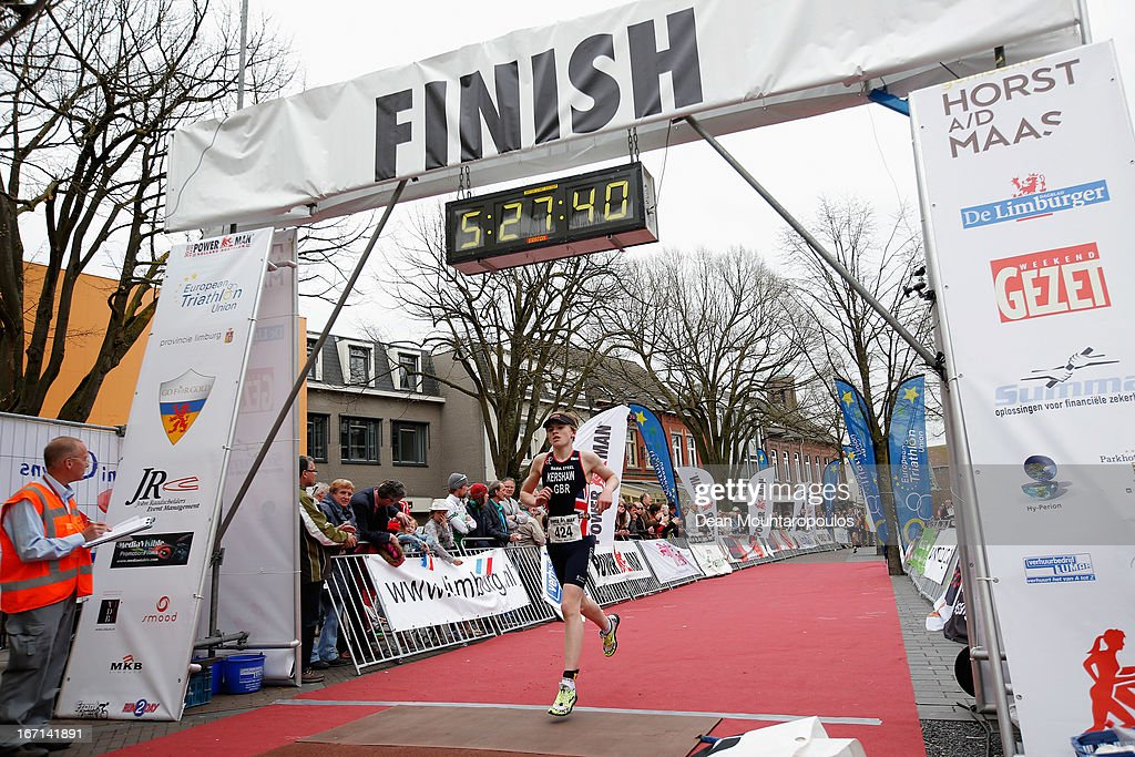 Jimmy Kershaw of Great Britain crosses the finish line in the Junior Mens Long Distance race during the 2013 Horst ETU Powerman Long Distance and Sprint Duathlon European Championships on April 21, 2013 in Horst, Netherlands.