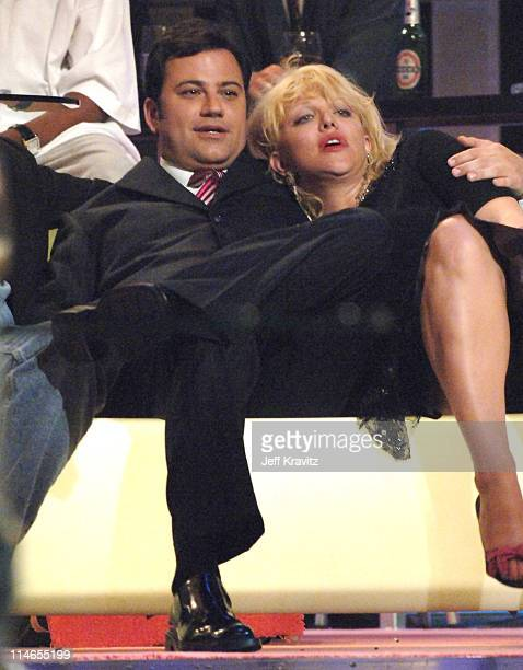 Jimmy Kimmel and Courtney Love during Comedy Central Roast of Pamela Anderson Show at Sony Studios in Culver City California United States
