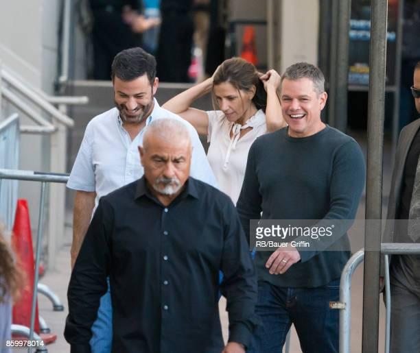 Jimmy Kimmel and Matt Damon are seen at 'Jimmy Kimmel Live' on October 10 2017 in Los Angeles California
