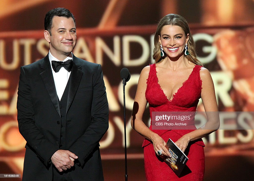 <a gi-track='captionPersonalityLinkClicked' href=/galleries/search?phrase=Jimmy+Kimmel&family=editorial&specificpeople=214115 ng-click='$event.stopPropagation()'>Jimmy Kimmel</a> and <a gi-track='captionPersonalityLinkClicked' href=/galleries/search?phrase=Sofia+Vergara&family=editorial&specificpeople=214702 ng-click='$event.stopPropagation()'>Sofia Vergara</a> during the 65th Primetime Emmy Awards which will be broadcast live across the country 8:00-11:00 PM ET/ 5:00-8:00 PM PT from NOKIA Theater L.A. LIVE in Los Angeles, Calif., on Sunday, Sept. 22 on the CBS Television Network.