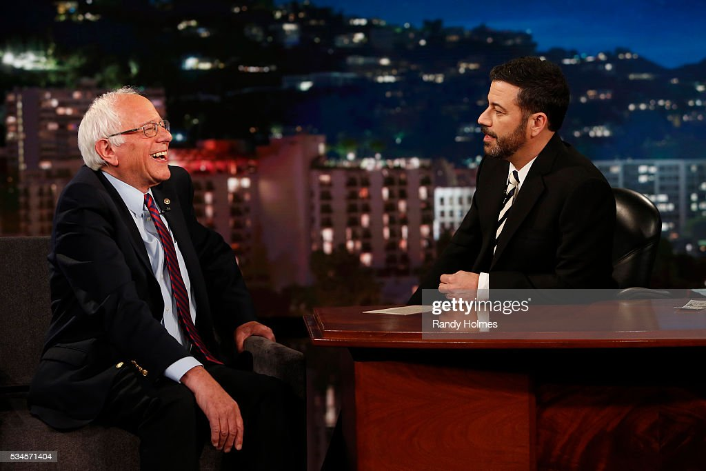 LIVE - 'Jimmy Kimmel Live' airs every weeknight at 11:35 p.m. EST and features a diverse lineup of guests that include celebrities, athletes, musical acts, comedians and human interest subjects, along with comedy bits and a house band. The guests for Thursday, May 26 included Democratic Presidential candidate Bernie Sanders, Kyle Chandler ('Bloodline') and chefs Frank Falcinelli and Frank Castronovo. BERNIE