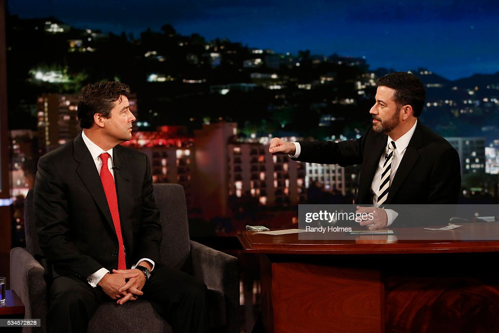 LIVE - '<a gi-track='captionPersonalityLinkClicked' href=/galleries/search?phrase=Jimmy+Kimmel&family=editorial&specificpeople=214115 ng-click='$event.stopPropagation()'>Jimmy Kimmel</a> Live' airs every weeknight at 11:35 p.m. EST and features a diverse lineup of guests that include celebrities, athletes, musical acts, comedians and human interest subjects, along with comedy bits and a house band. The guests for Thursday, May 26 included Democratic Presidential candidate Bernie Sanders, <a gi-track='captionPersonalityLinkClicked' href=/galleries/search?phrase=Kyle+Chandler&family=editorial&specificpeople=745009 ng-click='$event.stopPropagation()'>Kyle Chandler</a> ('Bloodline') and chefs Frank Falcinelli and Frank Castronovo. KYLE
