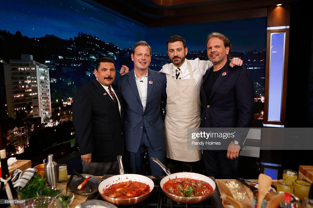 LIVE - '<a gi-track='captionPersonalityLinkClicked' href=/galleries/search?phrase=Jimmy+Kimmel&family=editorial&specificpeople=214115 ng-click='$event.stopPropagation()'>Jimmy Kimmel</a> Live' airs every weeknight at 11:35 p.m. EST and features a diverse lineup of guests that include celebrities, athletes, musical acts, comedians and human interest subjects, along with comedy bits and a house band. The guests for Thursday, May 26 included Democratic Presidential candidate Bernie Sanders, Kyle Chandler ('Bloodline') and chefs Frank Falcinelli and Frank Castronovo. GUILLERMO