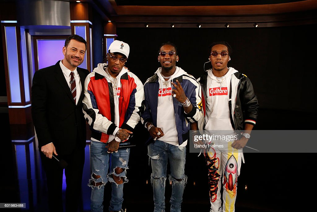 LIVE - 'Jimmy Kimmel Live' airs every weeknight at 11:35 p.m. EST and features a diverse lineup of guests that includes celebrities, athletes, musical acts, comedians and human-interest subjects, along with comedy bits and a house band. The guests for Tuesday, January 17 included Vin Diesel ('XXX: Return of Xander Cage'), Katy Mixon ('American Housewife') and musical guest Migos. JIMMY