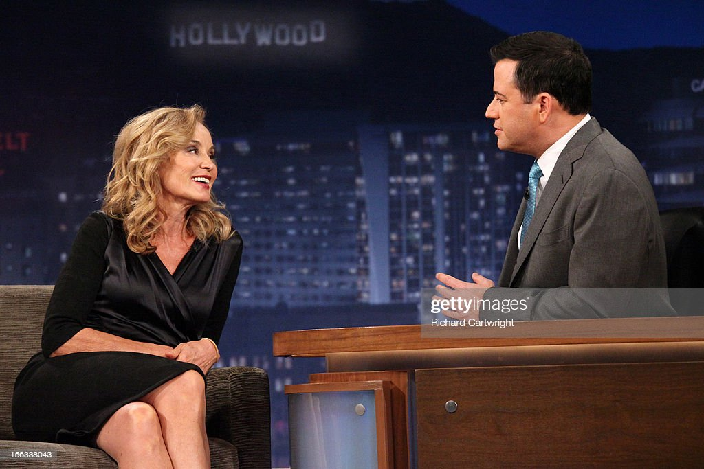LIVE - 'Jimmy Kimmel Live' airs every weeknight, (12:00 - 1:06 a.m., ET), following 'Nightline,' packed with hilarious comedy bits and features a diverse lineup of guests including celebrities, athletes, musicians, comedians and humorous human interest subjects. The guests for MONDAY, NOVEMBER 12 included actress Jessica Lange ('American Horror Story'), actor Adam Pally ('Happy Endings') and musical guest Game with Tyga. KIMMEL