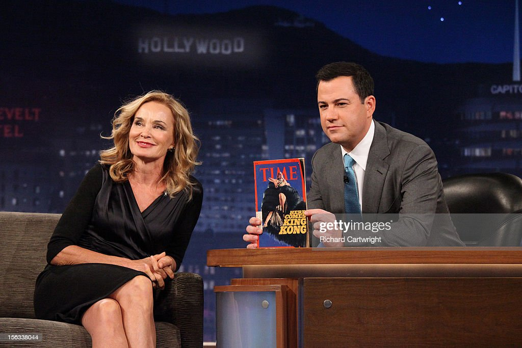 LIVE - 'Jimmy Kimmel Live' airs every weeknight, (12:00 - 1:06 a.m., ET), following 'Nightline,' packed with hilarious comedy bits and features a diverse lineup of guests including celebrities, athletes, musicians, comedians and humorous human interest subjects. The guests for MONDAY, NOVEMBER 12 included actress Jessica Lange ('American Horror Story'), actor Adam Pally ('Happy Endings') and musical guest Game with Tyga. JESSICA