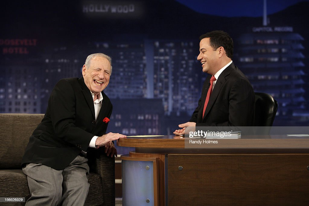 LIVE - 'Jimmy Kimmel Live' airs every weeknight, (12:00 - 1:06 a.m., ET), following 'Nightline,' packed with hilarious comedy bits and features a diverse lineup of guests including celebrities, athletes, musicians, comedians and humorous human interest subjects. The guests for THURSDAY, NOVEMBER 15 included Mel Brooks (DVD box set of 'The Incredible Mel Brooks: An Irresistible Collection of Unhinged Comedy'), broadcaster Jake Tapper ('The Outpost: An Untold Story of American Valor') and musical guest Jason Aldean. MEL
