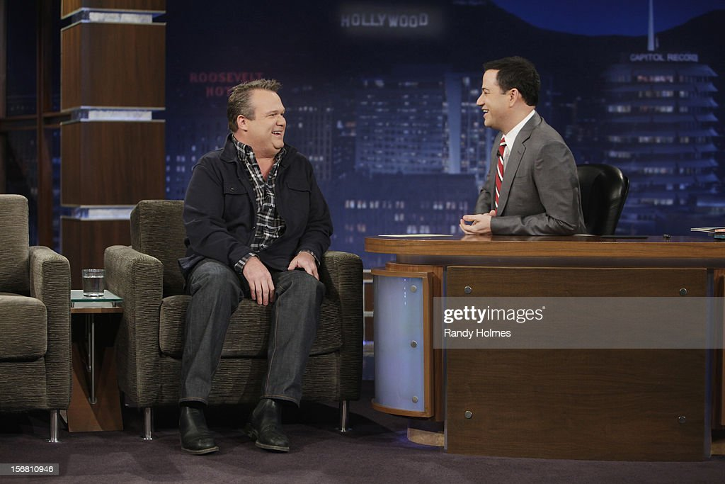 LIVE - 'Jimmy Kimmel Live' airs every weeknight, (12:00 - 1:06 a.m., ET), following 'Nightline,' packed with hilarious comedy bits and features a diverse lineup of guests including celebrities, athletes, musicians, comedians and humorous human interest subjects. The guests for MONDAY, NOVEMBER 19 included Eric Stonestreet ('Modern Family'), L.A. Reid ('The X Factor') and musical guest Aimee Mann with James Mercer. ERIC