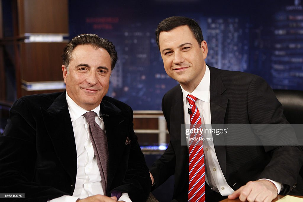 LIVE - 'Jimmy Kimmel Live' airs every weeknight, (12:00 - 1:06 a.m., ET), following 'Nightline,' packed with hilarious comedy bits and features a diverse lineup of guests including celebrities, athletes, musicians, comedians and humorous human interest subjects. The guests for TUESDAY, NOVEMBER 20 included Andy Garcia ('A Dark Truth'), Apolo Anton Ohno and Emmitt Smith ('Dancing With The Stars -- All Stars') and musical guest Andy Allo. ANDY