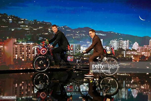 LIVE 'Jimmy Kimmel Live' welcomed Robert Downey Jr Chris Hemsworth Mark Ruffalo Chris Evans Scarlett Johansson and Jeremy Renner from the cast of...