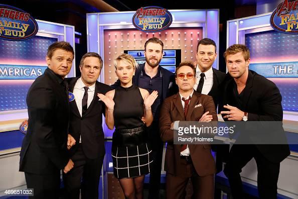 LIVE 'Jimmy Kimmel Live' welcomed Robert Downey Jr Chris Hemsworth Mark Ruffalo Chris Evans Scarlett Johansson and Jeremy Renner from the cast of...