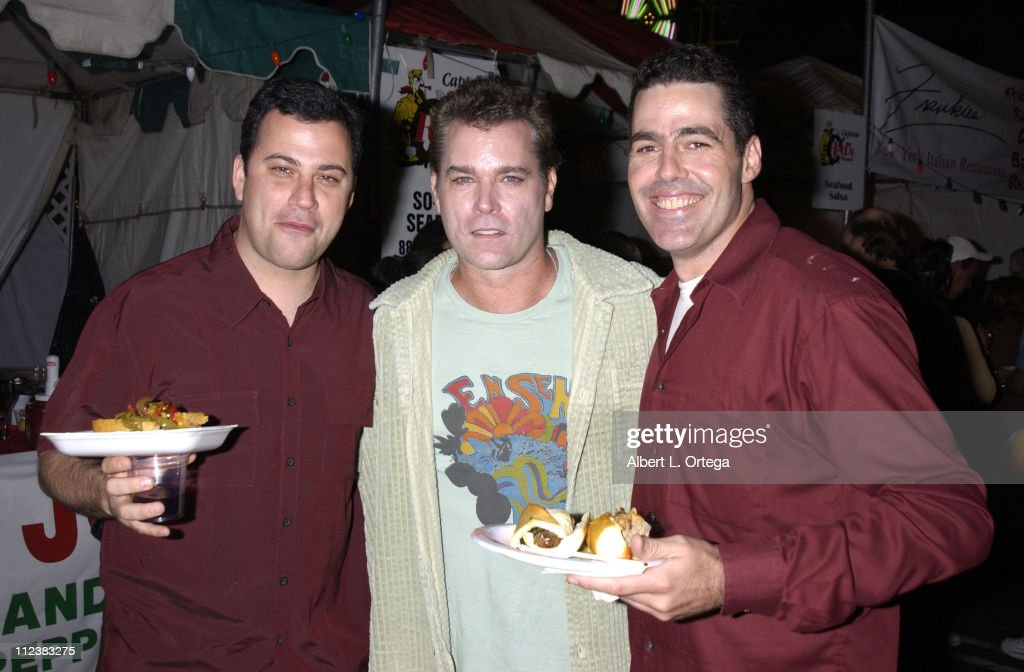 Jimmy Kimmel, Ray Liotta, Adam Carolla during The Feast of San Gennaro Presented by Precious Cheese - Day 1 at Hollywood Ivar Lot in Hollywood, California, United States.