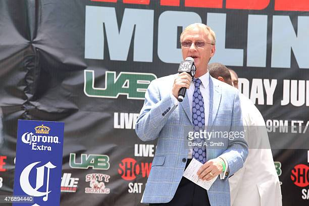 Jimmy Lennon Jr speaks to the crowd at th weighin for the Deontay Wilder v Eric Molina WBC Heavyweight Title fight on June 12 2015 in Birmingham...