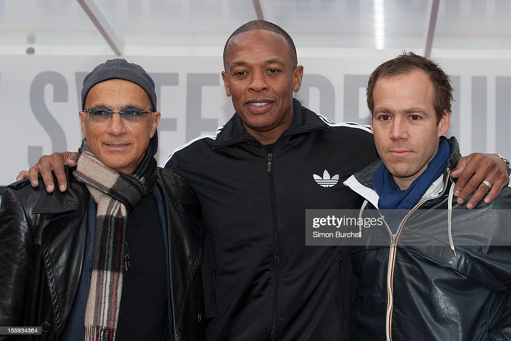 Jimmy Lovine, Dr Dre and Luke Wood attend the Beats By Dr Dre: Show Your Colours photocall at Covent Garden on November 9, 2012 in London, England.