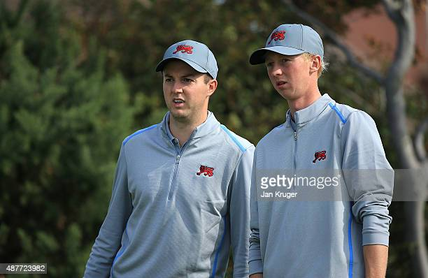 Jimmy Mullen of Great Britain Ireland looks on with teammate Ashley Chesters during a Practice Round prior to the 2015 Walker Cup at Royal Lytham St...