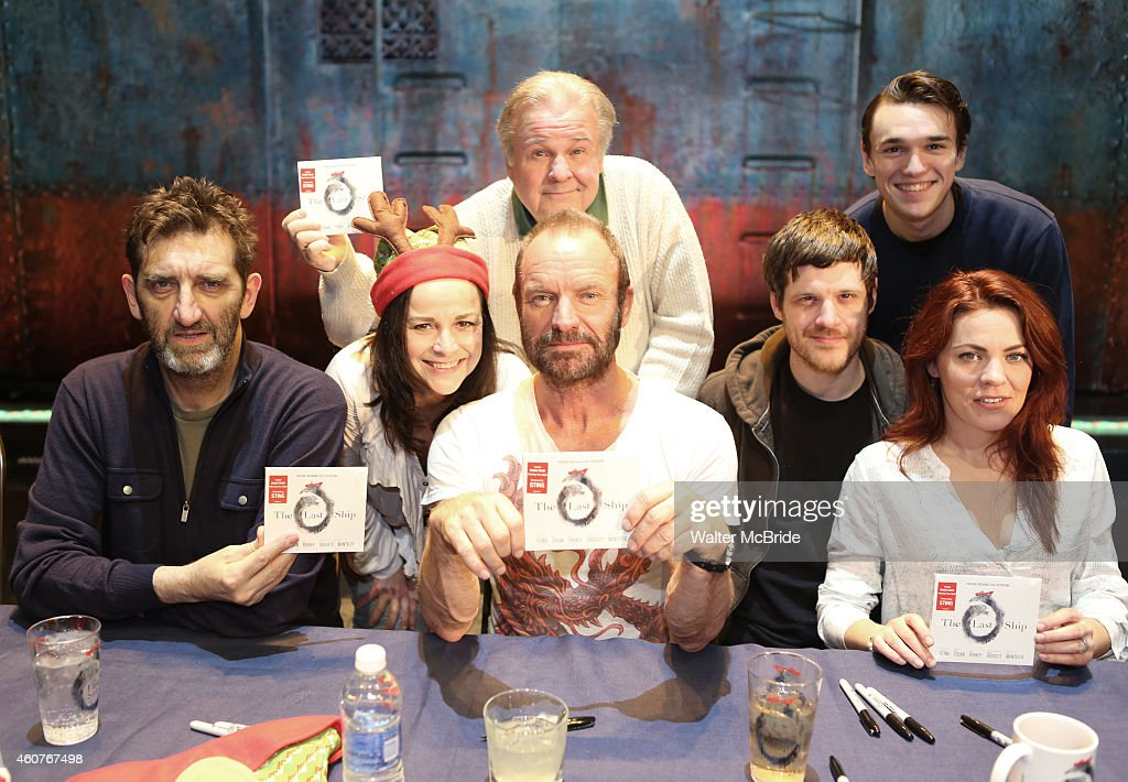 Jimmy Nail, Sally Ann Triplett, Sting, Fred Applegate, Michael Esper, Collin Kelly-Sordelet and Rachel Tucker attend the CD autograph signing for the Original Broadway Cast Recording of 'The Last Ship' on stage at The Neil Simon Theatre on December 21, 2014 in New York City.