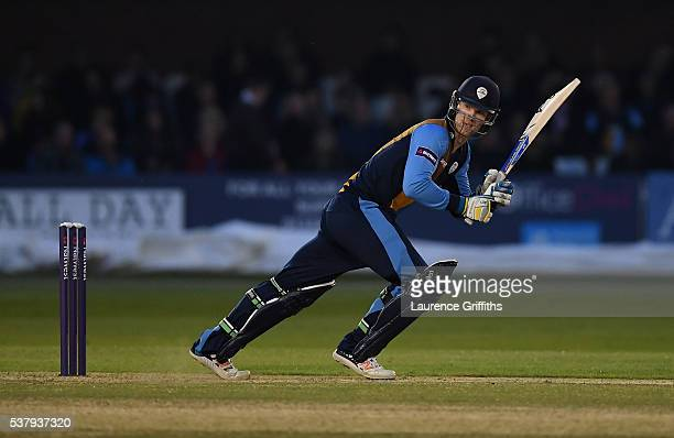 Jimmy Neesham of Derbyshire hits out during the NatWest T20 Blast match between Derbyshire Falcons and Leicestershire Foxes at The County Ground on...