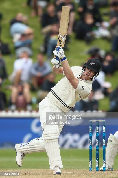 Jimmy Neesham of New Zealand bats during day three of the test match between New Zealand and South Africa at Basin Reserve on March 18 2017 in...