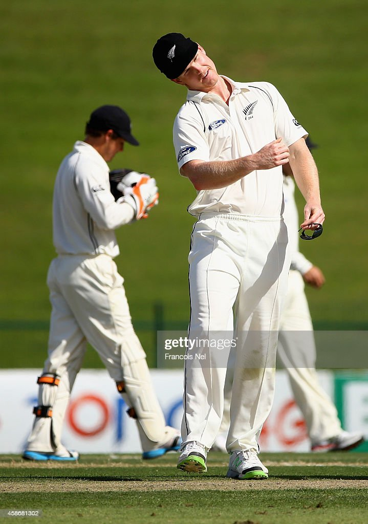 <a gi-track='captionPersonalityLinkClicked' href=/galleries/search?phrase=Jimmy+Neesham&family=editorial&specificpeople=6680337 ng-click='$event.stopPropagation()'>Jimmy Neesham</a> of New Zealand reacts during Day One of the First Test between Pakistan and New Zealand at Sheikh Zayed stadium on November 9, 2014 in Abu Dhabi, United Arab Emirates.